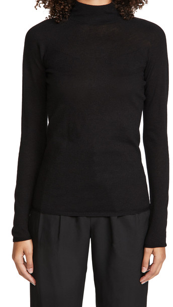 Vince Seamless Funnel Neck Pullover in black
