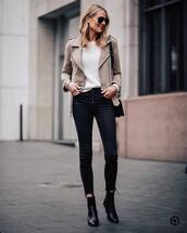 jacket,suede jacket,black boots,ankle boots,cropped jeans,black skinny jeans,white sweater,black bag