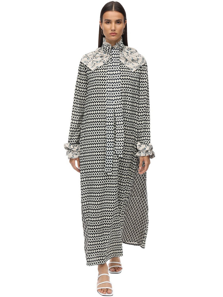 YVONNE S Napoleon Printed Crepe Maxi Dress in ivory