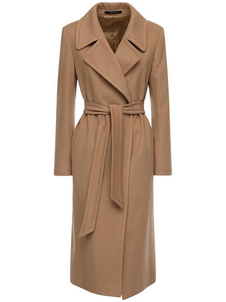 TAGLIATORE Molly Belted Wool & Cashmere Coat in camel