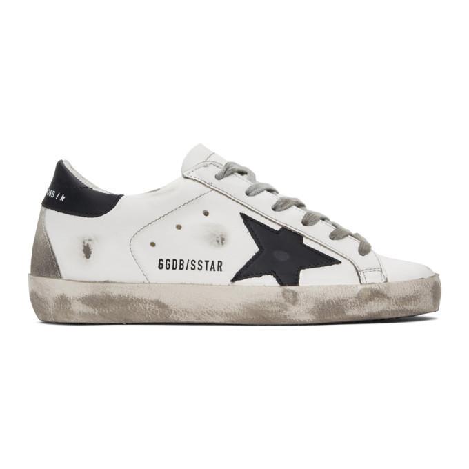 Golden Goose Black Superstar Sneakers in white
