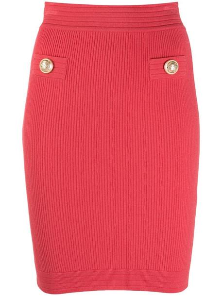 Balmain stretch rib knit pencil skirt in pink