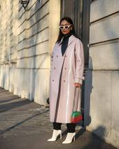 bag,gucci bag,crossbody bag,white shoes,pumps,lilac,double breasted,long coat,scarf,sunglasses