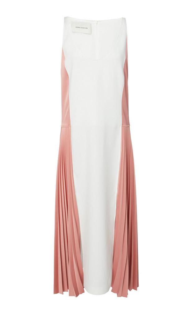 Cédric Charlier Colorblocked Pleated Midi Dress in multi