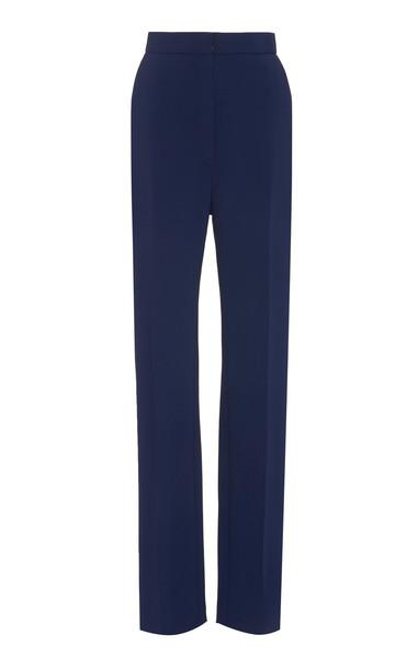Carolina Herrera Tailored Straight Leg Crepe Pant Size: 0 in blue