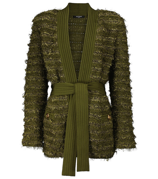 Balmain Belted tweed longline cardigan in green