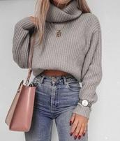 sweater,turtleneck sweater,grey sweater,grey,fall sweater,fall outfits,fashion week,turtleneck,cute,cropped,oversized sweater,oversized