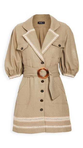PatBO Belted Linen Mini Dress in khaki