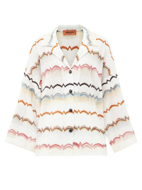 Missoni - Zigzag Striped Crochet-knit Shirt - Womens - White Multi