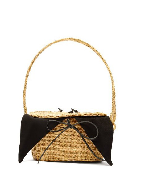 Muuñ Muuñ - Mini Jeanne Straw Basket Bag - Womens - Black