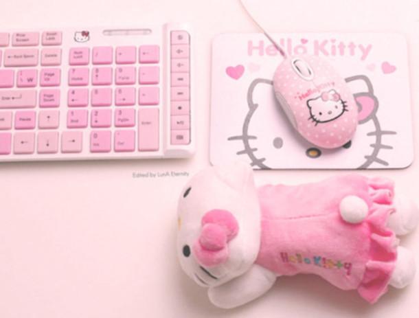 kawaii hello kitty laptop computer keyboard mouse japanese pink girly pastel computer accessory
