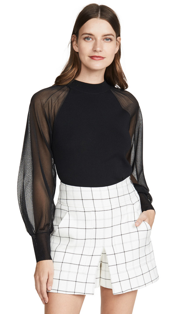 Edition10 Sheer Sleeve Knit Top in black
