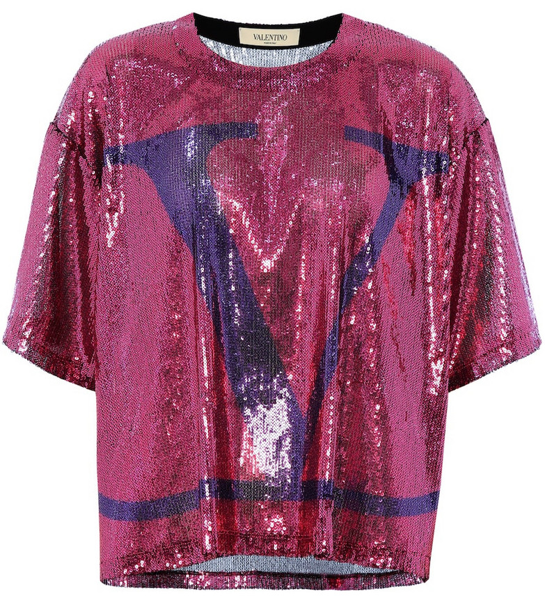 Valentino VLOGO sequin T-shirt in pink