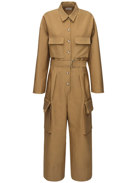 THE FRANKIE SHOP Linda Cotton Canvas Jumpsuit in brown