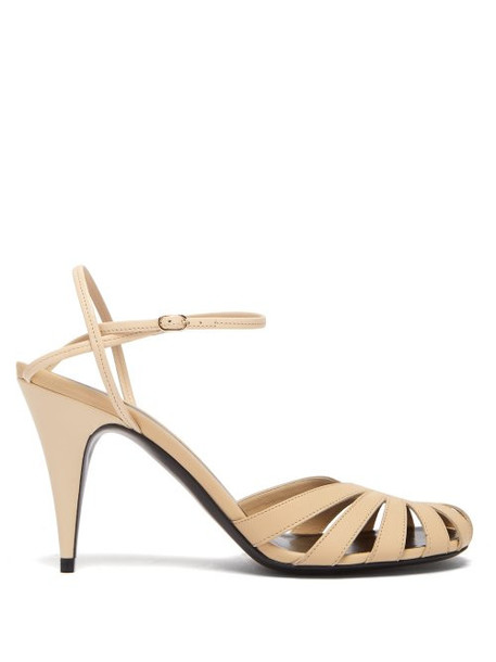 The Row - Tango Cut Out Leather Sandals - Womens - Cream