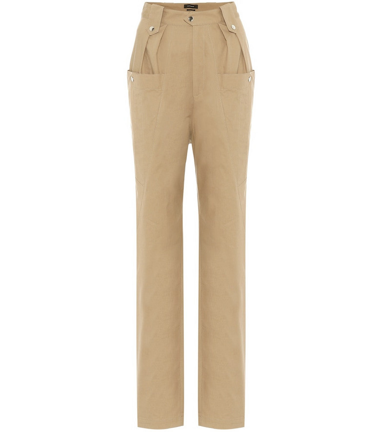 Isabel Marant Yerris high-rise straight pants in beige
