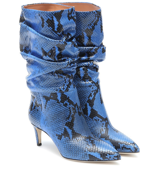Paris Texas Exclusive to Mytheresa – Snake-effect leather ankle boots in blue