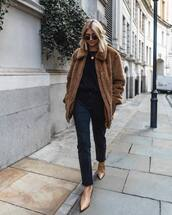 jeans,straight jeans,cropped jeans,boots,black sweater,brown jacket,teddy jacket