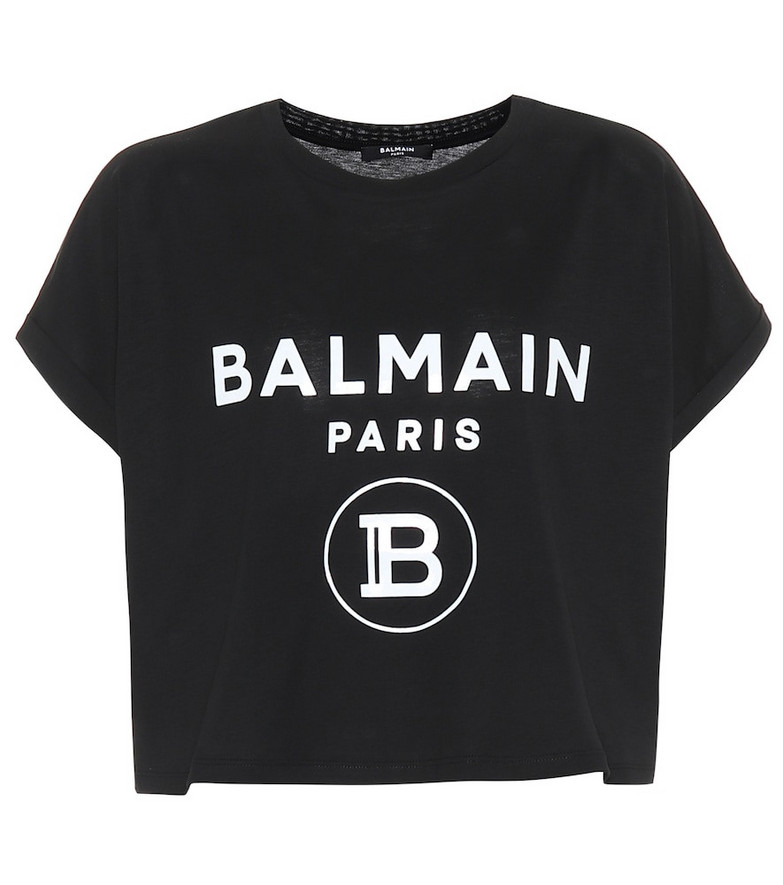 Balmain Cropped logo cotton T-shirt in black