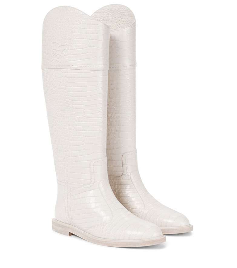 FENDI FF Karligraphy leather knee-high boots in white