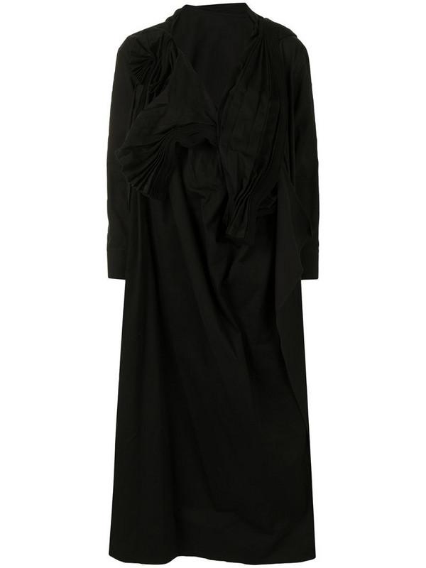 Yohji Yamamoto pleated maxi dress in black