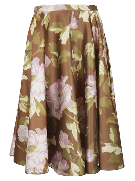 Rochas Floral Skirt in green / pink