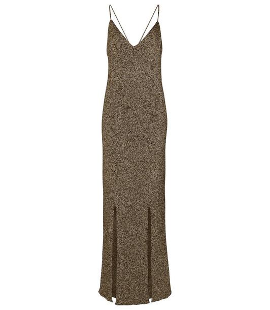 Ganni Stretch-knit slip dress in gold