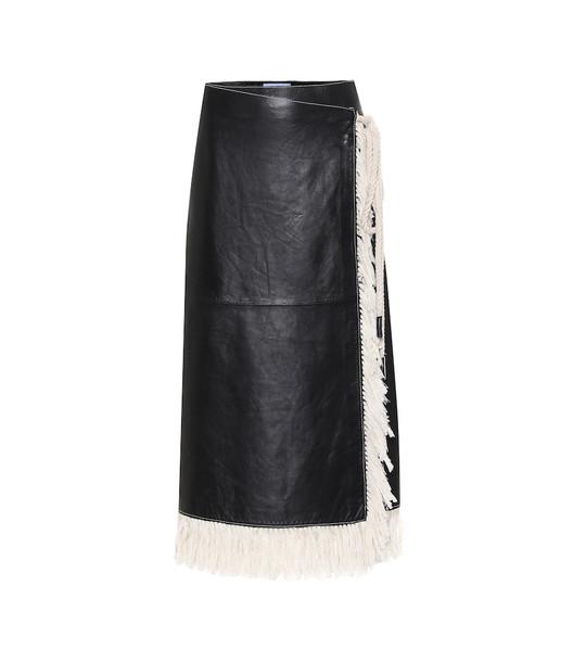 Stand Studio Eve fringe-trimmed leather skirt in black