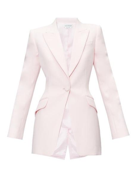 Alexander Mcqueen - Single Breasted Peak Lapel Crepe Jacket - Womens - Light Pink