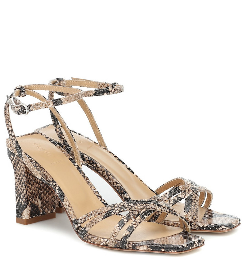 Aeydé Annabella embossed leather sandals in brown
