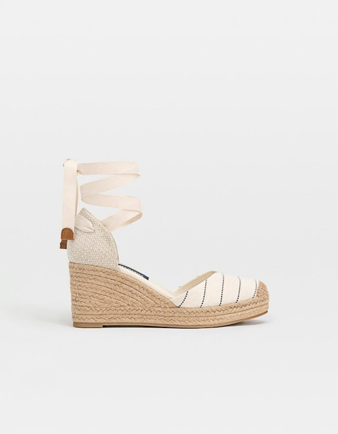 Stradivarius Jute Wedge Espadrilles In Natural