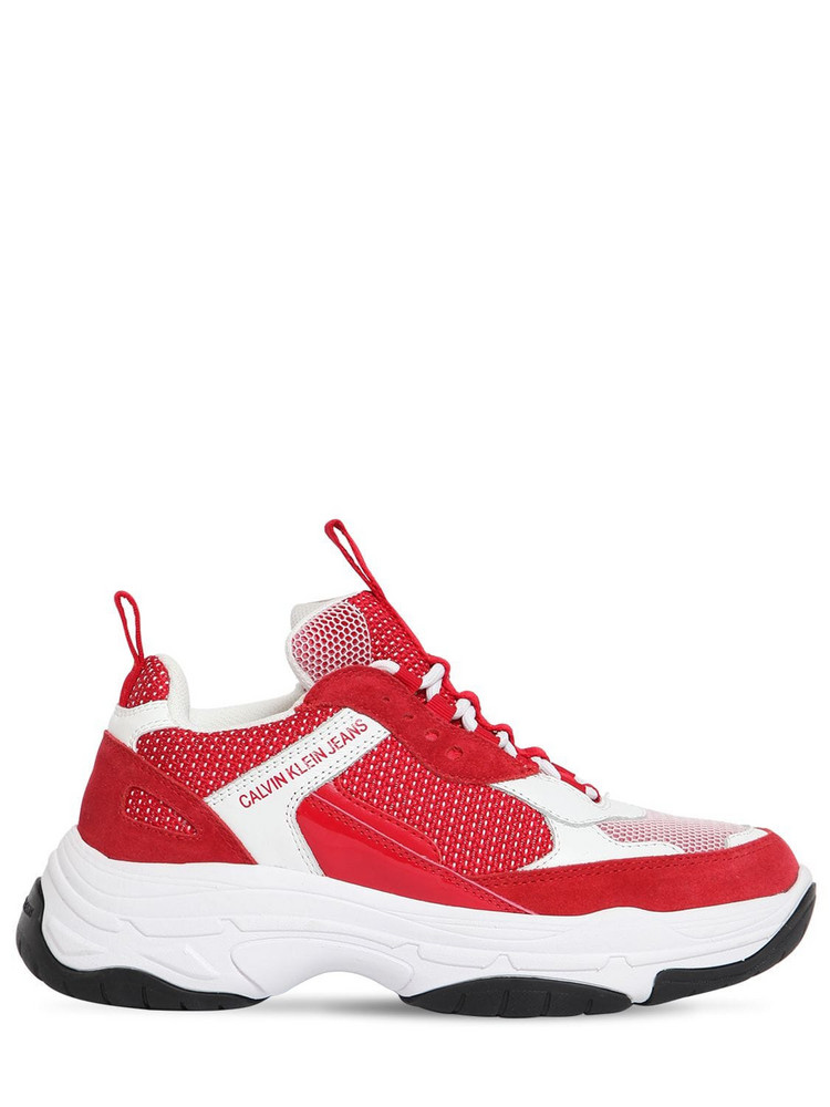 CALVIN KLEIN JEANS 50mm Maya Mesh & Leather Sneakers in red / white