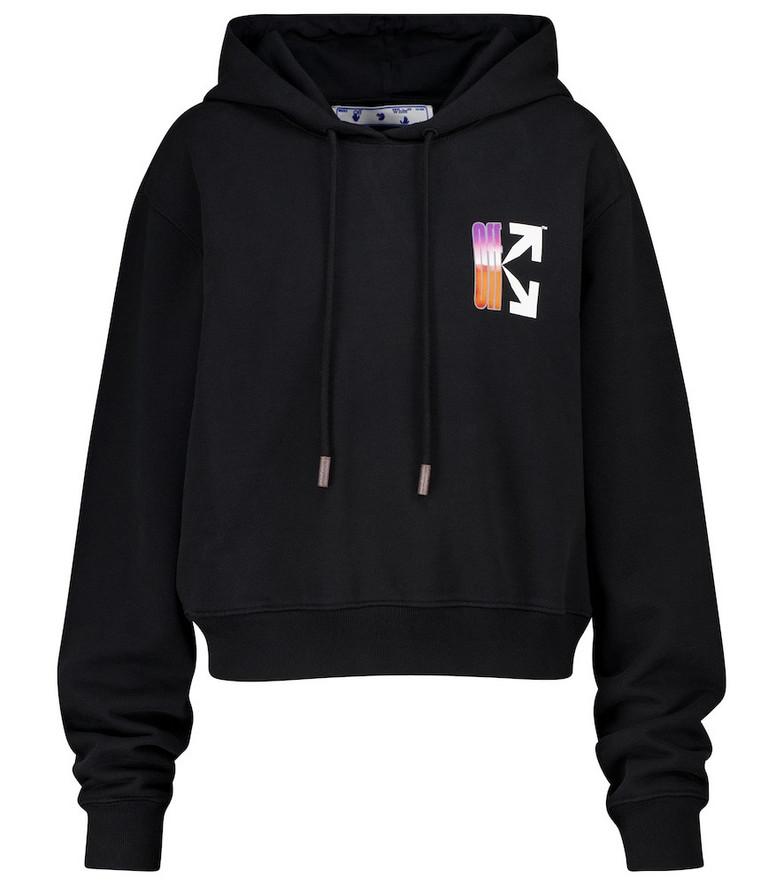 Off-White Logo cotton jersey hoodie in black