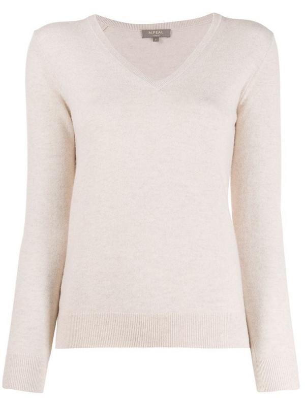 N.Peal cashmere V-neck jumper in neutrals