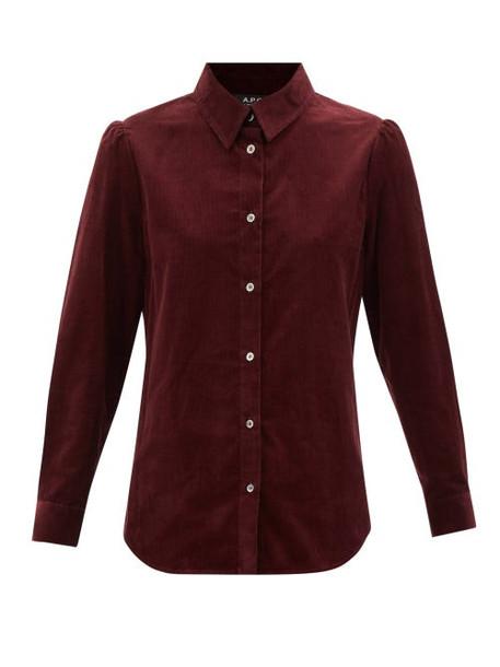 A.P.C. A.P.C. - Jenny Cotton-needlecord Shirt - Womens - Burgundy