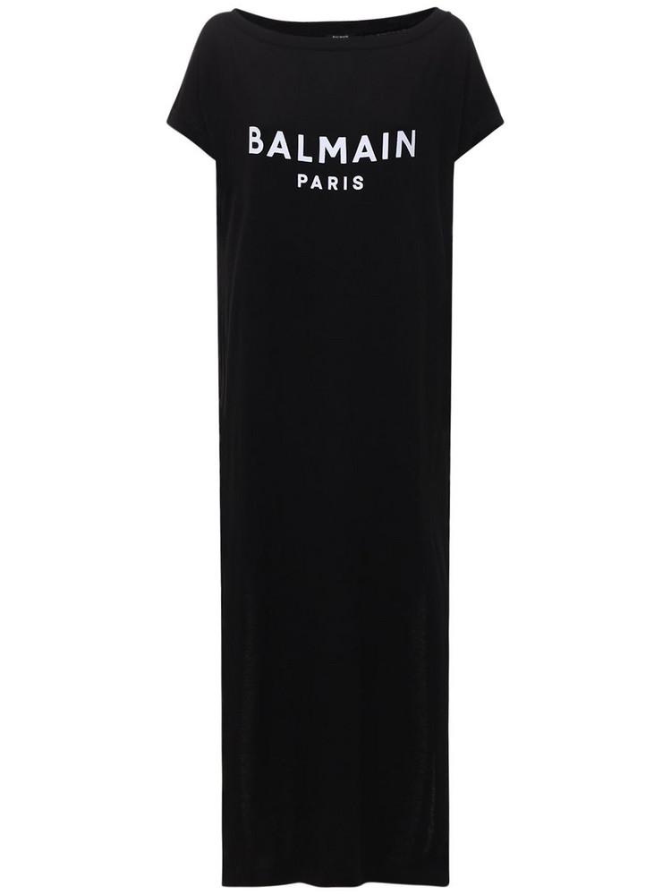 BALMAIN Logo Cotton Knit Long Dress in black / white