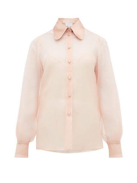 Luisa Beccaria - Satin Collar Silk Organza Blouse - Womens - Light Pink