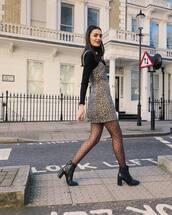 dress,mini dress,leopard print,ankle boots,black boots,heel boots,tights,black turtleneck top