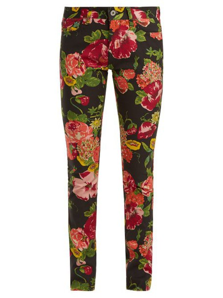 Junya Watanabe - Floral Print Slim Fit Jeans - Womens - Black Multi