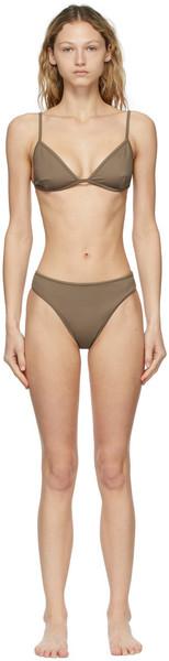 Nu Swim Brown Yes & High-Cut Bikini in taupe