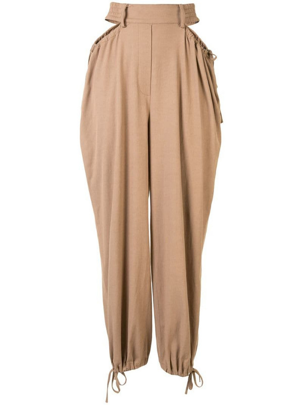 Dion Lee gathered tie tapered trousers in brown
