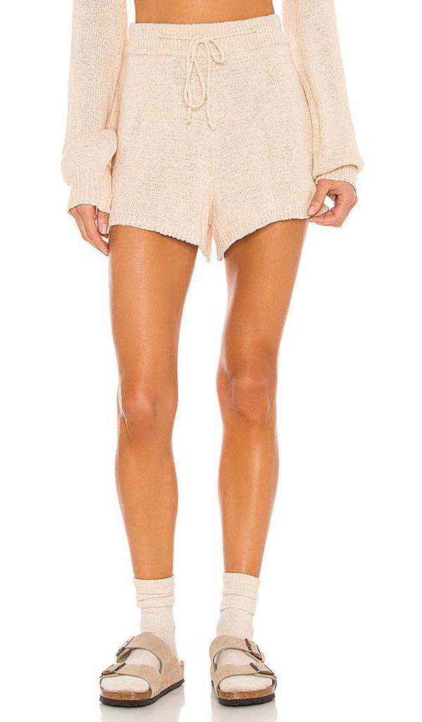 SNDYS Lounge Celeste Knit Shorts in Nude in sand