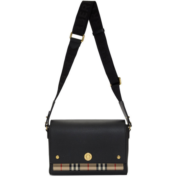 Burberry Black and Vintage Check Hackberry Crossbody Bag