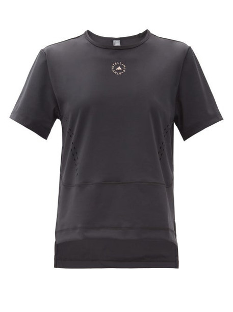 Adidas By Stella Mccartney - Truestar Logo-print Perforated T-shirt - Womens - Black