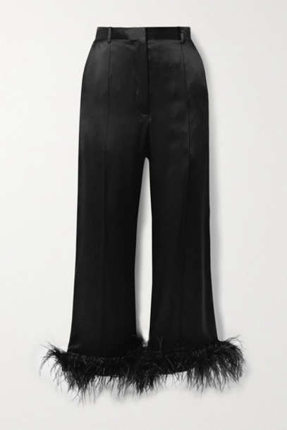 Michael Lo Sordo - Cropped Feather-trimmed Silk-satin Wide-leg Pants - Black