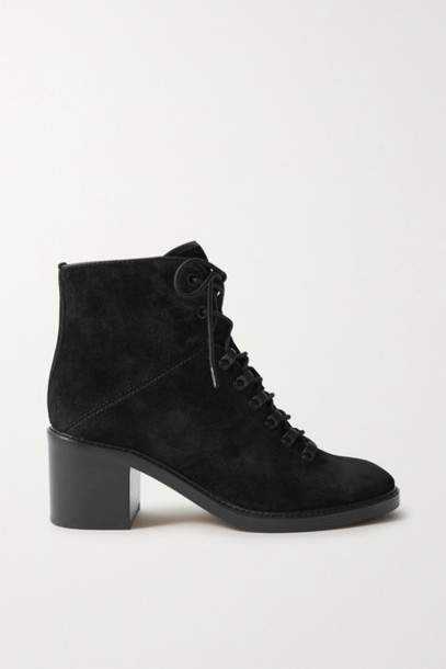 Vince - Falco Lace-up Suede Ankle Boots - Black