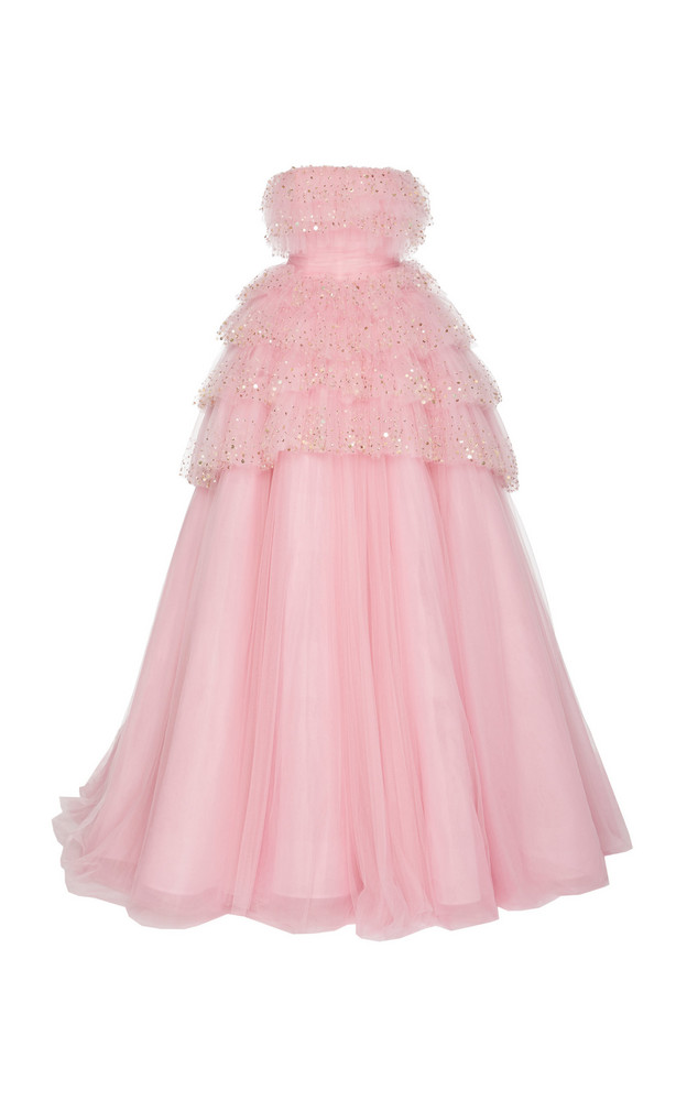 Monique Lhuillier Strapless Embroidered Tiered Tulle Ball Gown in pink