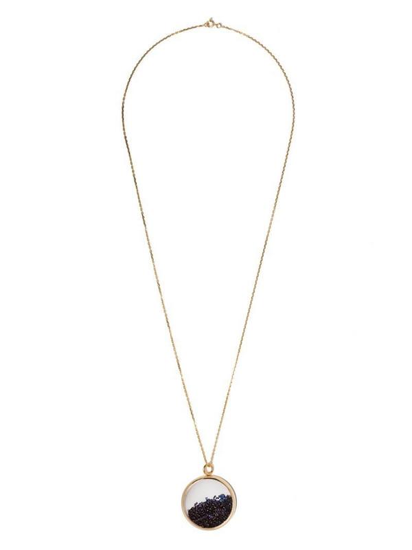 Aurelie Bidermann 18kt yellow gold Chivor large blue sapphire medallion necklace