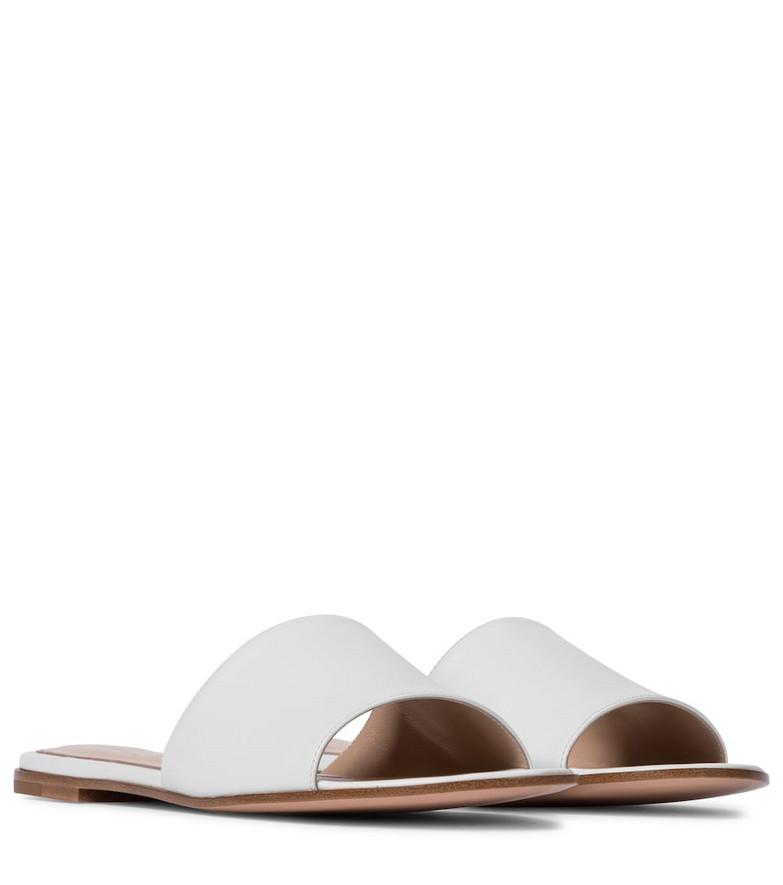 Gianvito Rossi Capri leather slides in white