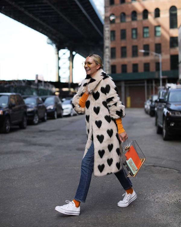 coat faux fur coat white coat converse straight jeans socks top bag